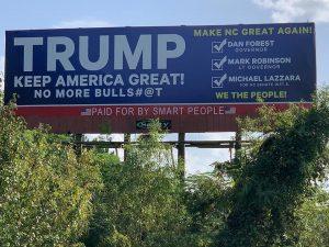 Trump and Dan Forest and Mark Robinson NC Billboard